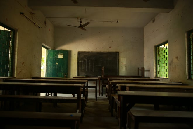 Classrooms are empty in a state-run school in Kolkata, India, during the COVID-19 pandemic.