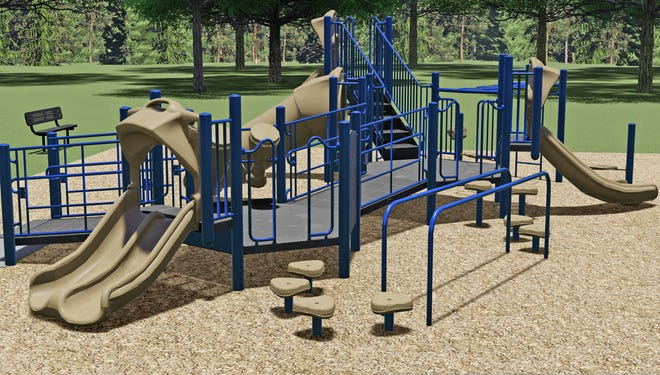 A rendering of the playground equipment to be purchased for Keen Street Park. The equipment is funded through a grant from the Straker Family Foundation.