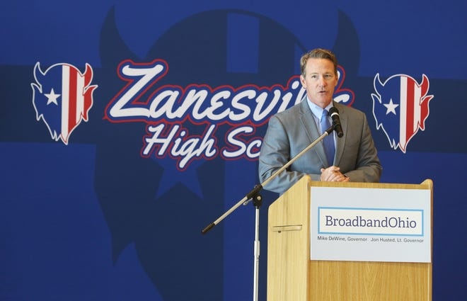 Ohio Lt. Governor John Husted announces a telehealth initiative Wednesday afternoon at Zanesville High School.