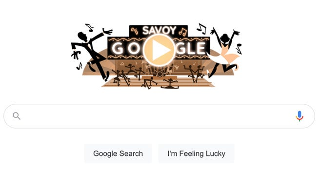 A screenshot of Google's doodle honoring the Savoy Ballroom and swing dance.