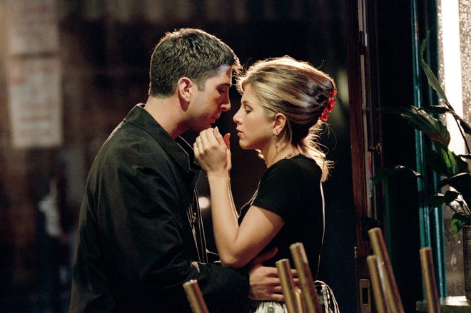 """""""Friends"""" costars David Schwimmer and Jennifer Aniston had mutual crushes on each other in the series' first season, but did not act on their feelings."""