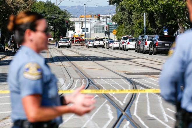 Emergency responders gather at the scene of a shooting where several people were reported dead including the shooter on May 26, 2021 at the San Jose Railyard in San Jose, California.