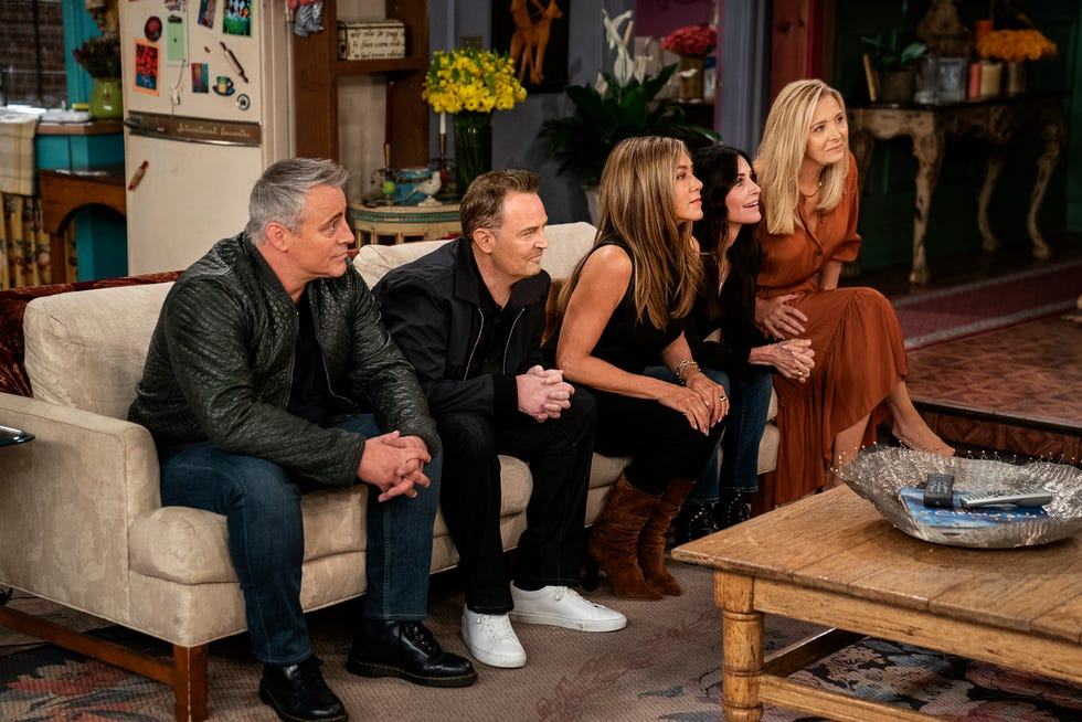"""This image provided by HBO Max shows Matt LeBlanc, from left, Matthew Perry,  Jennifer Aniston, Courteney Cox and Lisa Kudrow in a scene from the """"Friends"""" reunion special."""