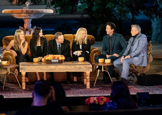 """Jennifer Aniston, Courteney Cox, Matthew Perry, Lisa Kudrow, David Schwimmer and Matt Le Blanc at the """"Friends"""" Reunion Special on HBO Max."""