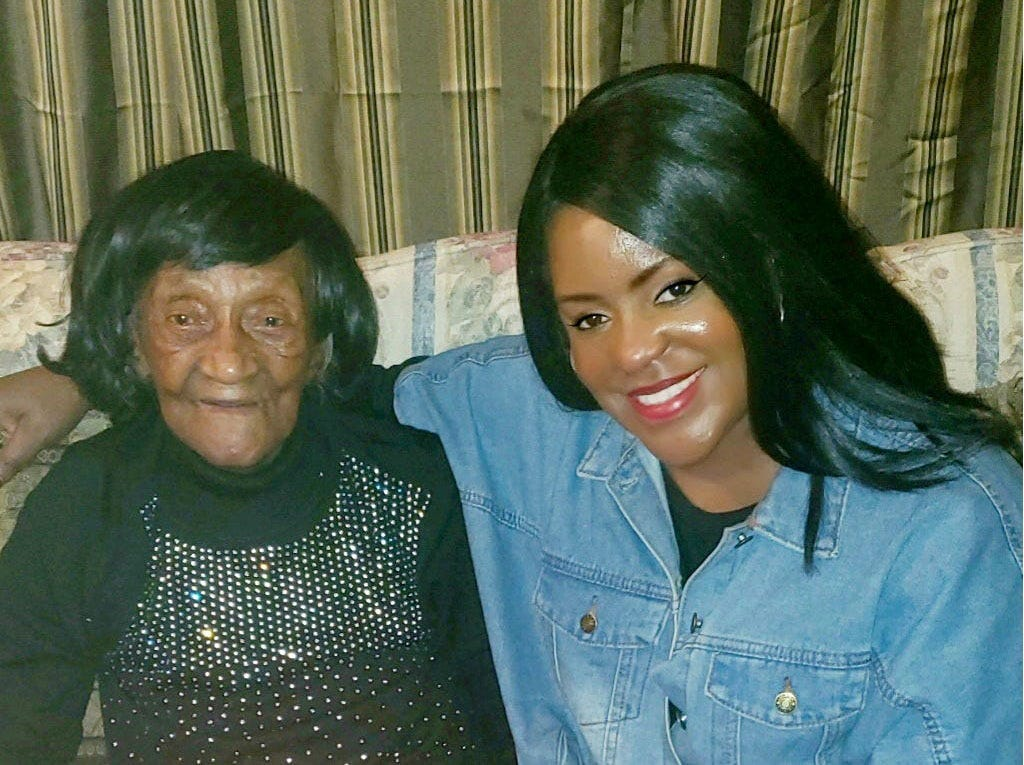 """Tiffany Crutcher with Lessie Benningfield Randle, also known as """"Mother Randle."""""""