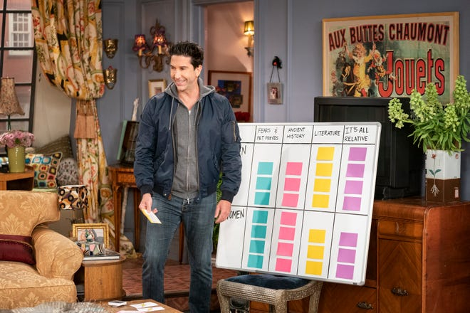 """David Schwimmer, seen hosting a trivia game for """"Friends: The Reunion,"""" reveals his true feelings about Ross' pet monkey in the HBO Max special."""