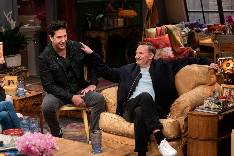 """This image provided by HBO Max shows David Schwimmer, left, and Matthew Perry in a scene from the """"Friends"""" reunion special."""