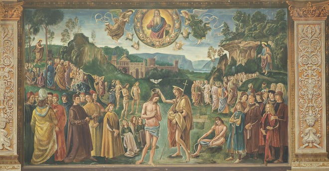 """Backdrops from the film """"The Shoes of the Fisherman"""" that recreate Sistine Chapel frescoes will be on display at Bass Concert Hall in June, including this one that depicts """"Baptism of Christ"""" by P. Perugino."""