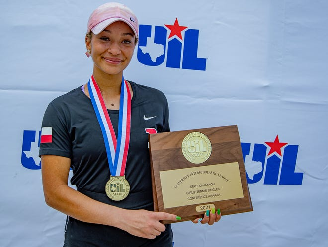Bowie's MiaAngelina Ruja won the girls singles UIL Class 6A state championship tennis tournament two weeks ago in San Antonio. Next year she will play at the University of the Pacific.