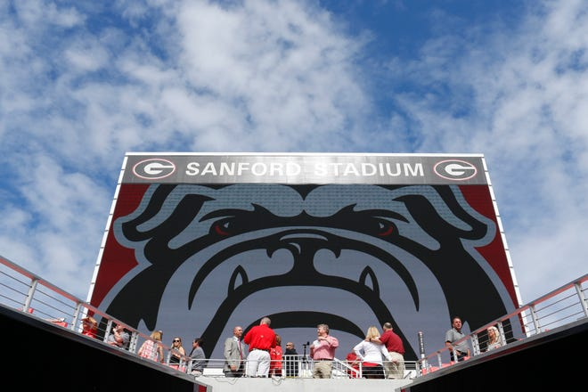 Supporters and donors check out the newly completed West End Zone at Sanford Stadium in Athens, Ga., Friday, August 31, 2018. [Photo/Joshua L. Jones, Athens Banner-Herald]