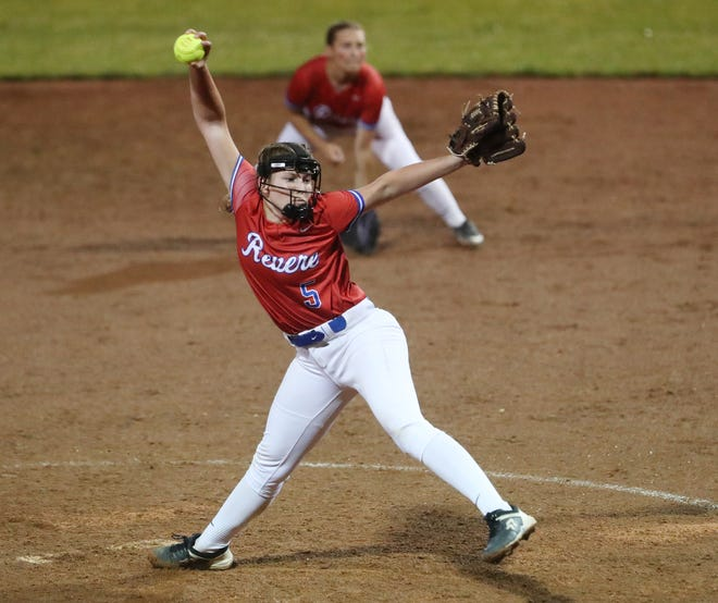Revere's Shannon Appel delivers a pitch in the sixth inning of a 12-2 loss to West Branch in a Division II regional semifinal Wednesday at Firestone Stadium. [Mike Cardew/Beacon Journal]