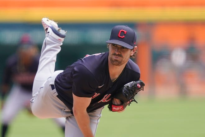 Cleveland starter Shane Bieber pitches in the fifth inning of a 5-2 win over the Detroit Tigers on Thursday afternoon. [Carlos Osorio/Beacon Journal]