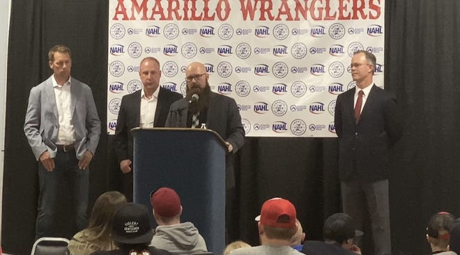 Amarillo Wranglers team president Austin Sutter answers questions during Wednesday night's introductory press conference.