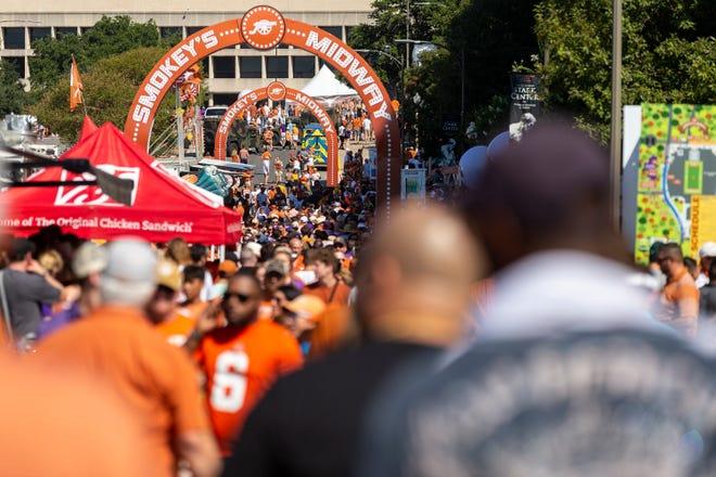Texas fans explore Bevo Boulevard before an NCAA college football game at Royal-Memorial Stadium, Saturday, Sept. 7, 2019.