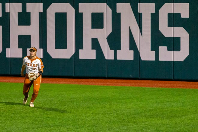 Texas right fielder Taylor Ellsworth fields her position during a regional game against Oregon last weekend. Ellsworth has been a catcher throughout her high school and collegiate career but has transitioned to outfield this season.