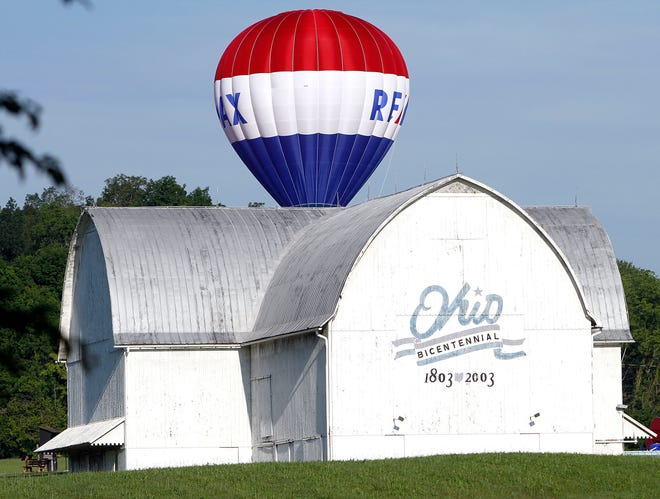 Pilot Stewart Gibboney lands his RE/MAX balloon behind the Bicentennial Barn at Freer Field in the early morning hours of June 28, 2019.