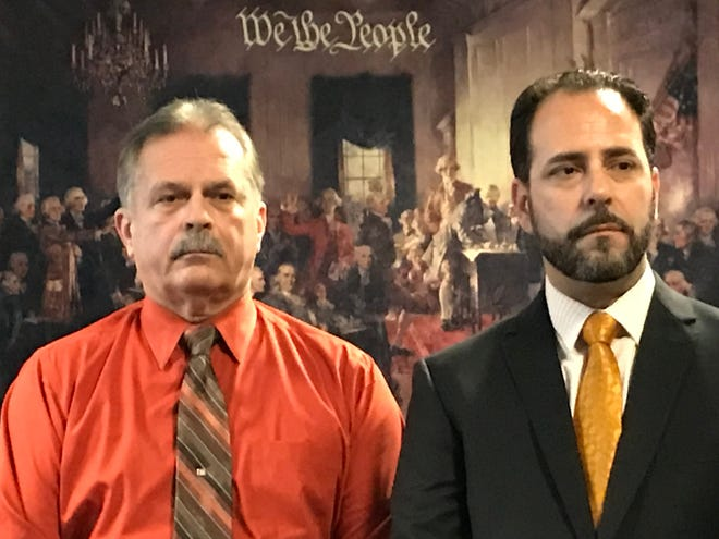 Former Bordentown township Police Chief Frank Nucera, Jr., left, was sentenced to 28 months in prison for lying to the FBI about slamming a handcuffed Black teenager's head into a metal doorjamb during a 2016 arrest at a Bordentown hotel. At right is his attorney, Rocco Cipparone, Jr.