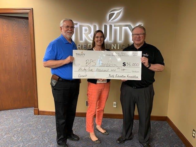 From left to right: Dennis Halpin, CEO of Truity Credit Union;  Blair Ellis, BPS Foundation Executive Director; and Mark Wilburn, Executive Director of Truity Education Foundation