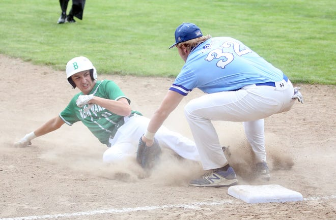 Boonville third baseman Lane West applies the tag on Blair Oaks' Gavin Wekenborg in the fifth inning Tuesday night in a Class 4 Sectional game at Twillman field in Harley park. Blair Oaks scored five runs in the first two innings to beat Boonville 5-0. The Pirates finished the season at 16-6 overall.