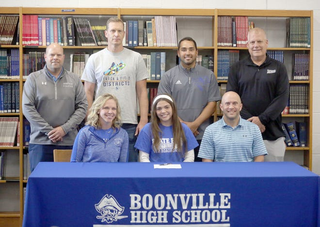 Boonville senior Daylynn Baker recently signed a letter of intent in track and field with State Fair Community College in Sedalia. Baker is a four-year letterwinner on the Boonville Lady Pirates track team. Attending the signing ceremony last Tuesday in the media center at Boonville High School were (front row, left to right) Boonville girls track coach Melissa Baker, Daylynn Baker and Gary Baker. (back row, left to right) Boonville Athletic Director Chris Shikles, Boonville boys track coach Ryan Lyons, Boonville assistant track coach Paul Stevens, and State Fair Athletic Director Darren Pannier.