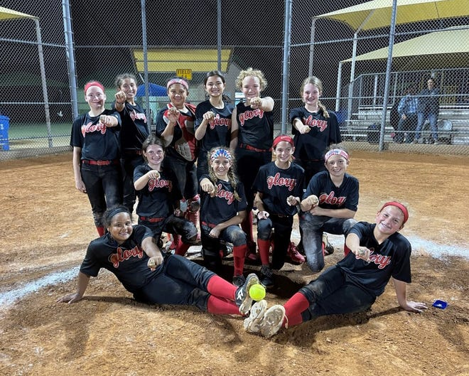 Sheffield's 12U Glory takes 1st in 11 team field to win the Central Texas District Tournament over the weekend. Bottom row (from left): Brend Allen and Corinne Sheffield. Middle row: Kenley Howard, Gabrielle Volz, Grey Pruett and Racy Pruett.  Top row: Kynley Martin, Aleeya McCombs, Amarrea Thomas, Maitlyn Esquivel, Andi Simpson and Rylee Greenway. Not pictured: Head Coach Amanda Sheffield, Assistant Coach David Sheffield and Assistant Coach Andy Howard.
