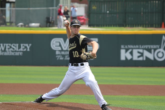 Andover Central's Rece Wilson pitches in the Class 5A state quarterfinal game against St. James Academy on Thursday, May 27 at Wichita State's Eck Stadium.