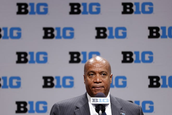 Big Ten Commissioner Kevin Warren speaks following the cancellation of the men's basketball tournament due to concerns over the Coronavirus (COVID-19) at Bankers Life Fieldhouse on March 12, 2020 in Indianapolis, Indiana. (Joe Robbins/Getty Images/TNS)