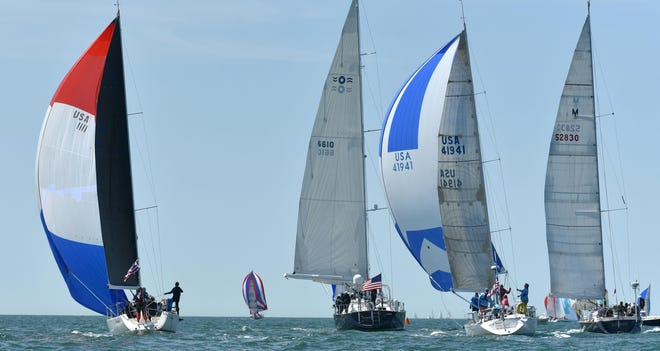 HYANNISPORT  05/25/19 A spinnaker start for many boats in light winds off the starting line in waters off Hyannisport for the annual Figawi race across the sound to Nantucket. Cape Cod Times/Steve Heaslip