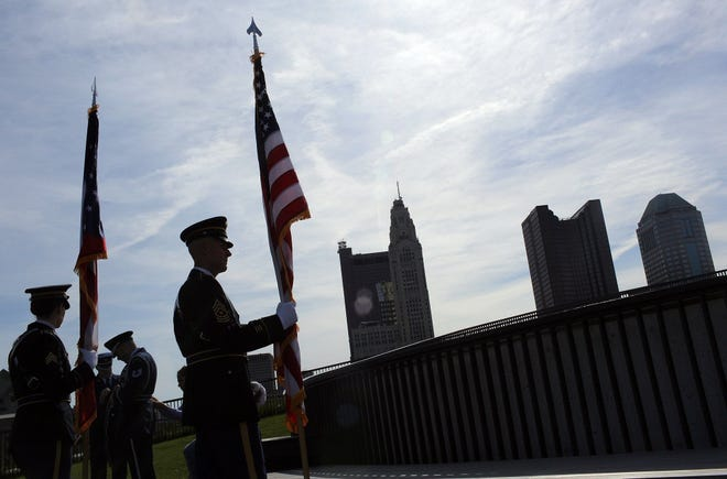 A National Guard Honor Guard prepares for a Memorial Day service at the National Veterans Memorial and Museum in downtown Columbus in 2019.