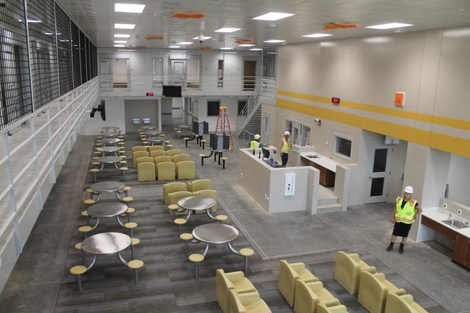 One of the general population pods at the new Franklin County Corrections Center on Fisher Road. The new jail will operate under a  direct supervision model, with deputies stationed inside areas that house inmates.
