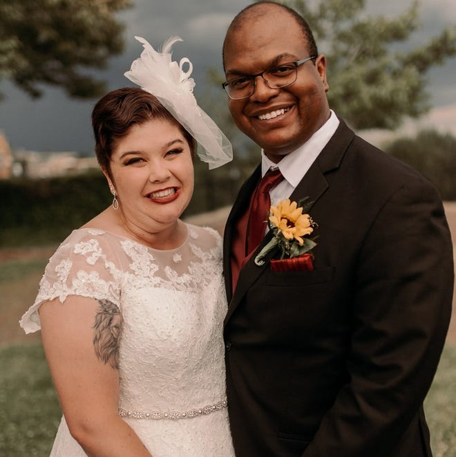 Torrie and David Gaffney on their wedding day