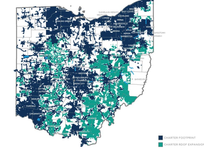 Charter Communications (aka Spectrum) will invest $556 million including at least $450 million in private capital and $106 received from the Rural Digital Opportunity Fund to expand broadband service to 112,777 new locations in Ohio including 3,917 in Guernsey County. Areas in dark blue show Charter's current network while green areas depict where the expansion will take place. Areas of white are not served by Charter, but could be served by another broadband provider.