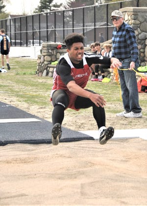 Coldwater's Deandre Douglas claimed the only I-8 Conference crown for the Cardinals Tuesday, winning the Long Jump.