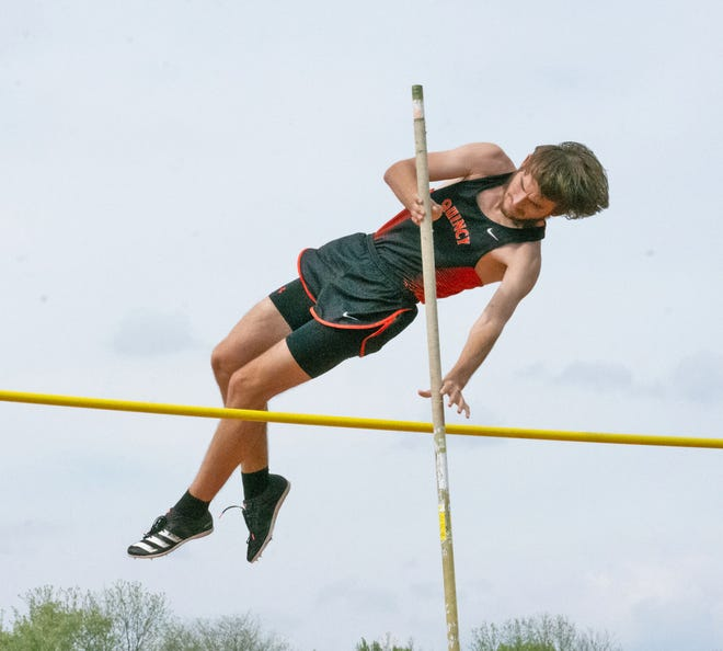Quincy's Caden Moore vaulted his way to a Big 8 conference championship Wednesday at Concord