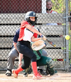 Olivia Canfield comes through in the clutch! Honesdale's scrappy junior second sacker lines a single to left in the bottom of the eighth. Liv's clutch knock plates the winning run as the Lady Hornets defeat Wyoming Area in the first round of the 2021 District Two Class 4A tournament.