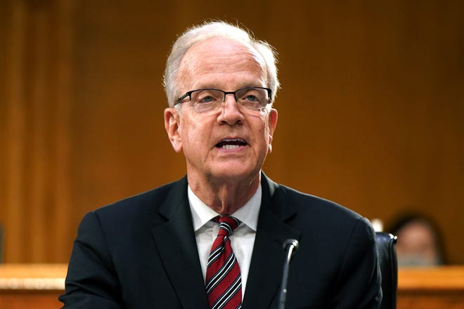 Senate Veterans Affairs Committee Chairman Jerry Moran, R-Kan., delivers opening remarks during the confirmation hearing for Denis McDonough to be secretary of Veterans Affairs, on Capitol Hill in Washington, D.C. on Jan. 27.
