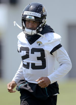 Jaguars (23) CB CJ Henderson during drills at Thursday's OTA session. The Jacksonville Jaguars held their Thursday session of organized team activity at the practice fields outside TIAA Bank Field, May 27, 2021.