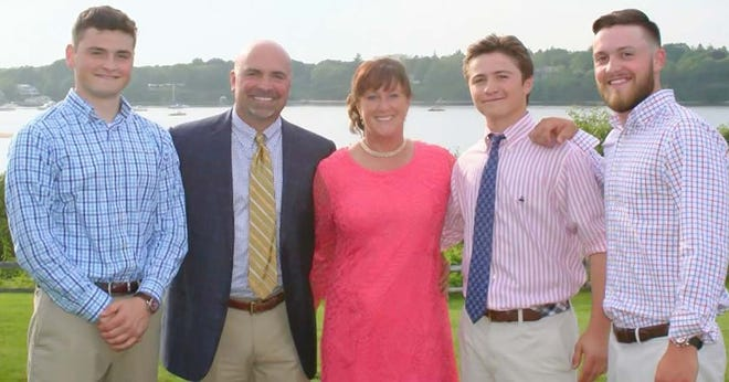 Though he retired his baseball cleats some time ago, former Quabbin star Drew Stratton, second from left, enjoys golfing and fishing in his spare time. He and his wife, Stephanie, live in Paxton with their three sons, from left, Pete, Charlie and Sam.