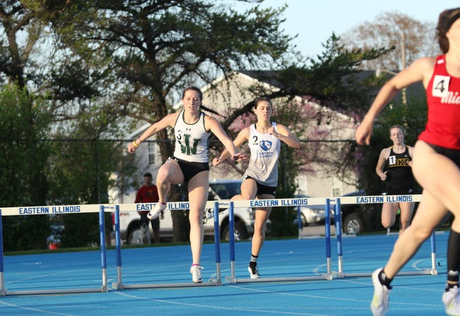 Illinois Wesleyan's Kelsey Wyman, a 2017 Monmouth-High School grad, takes part in the 400-meter hurdles on Friday, April 9 in a meet at Eastern Illinois University in Charleston.