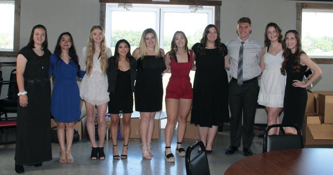 From left, Ruth Point, Xochitl Corrujedo, Trinity McCoy, Angela Herrera, Laney Whitefield, Emery Brewer, Ashlynn Perry, Sammuel Aldreidge, Emma Ragon, and Jenna White received scholarships from the Lions Club at its annual meeting on May 5 at The Rooster.