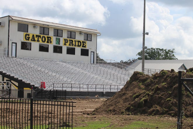Construction has begun at The Pit in St. Amant. The grass field has been torn up, in preparation for the installation of new artificial field turf.