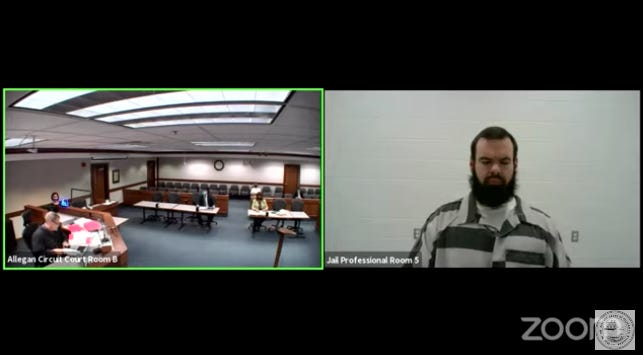 Nolan Woodworth appears by video from the Allegan County Jail for a hearing in Allegan County Circuit Court Wednesday, May 26.