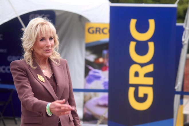 First Lady Jill Biden speaks to press following a tour of a vaccination clinic at Grand Rapids Community College on Thursday, May 27, 2021, in Grand Rapids, Mich.