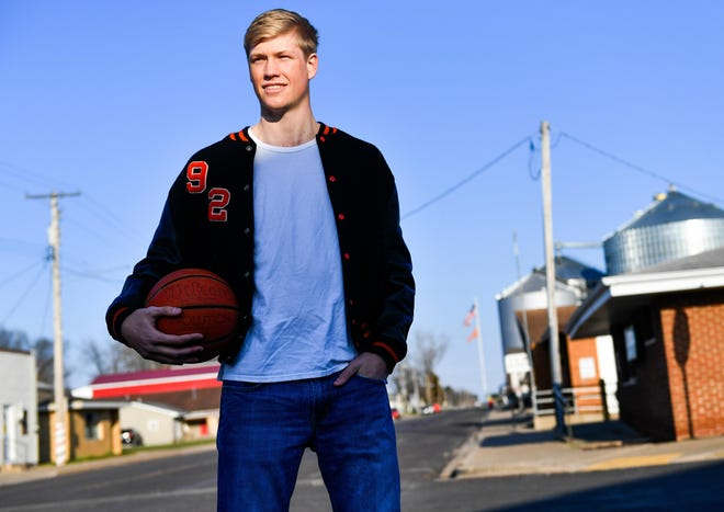 Senior Taylor Bruninga from Glasford stands tall in small school basketball at Illini Bluffs averaging 33 points and 11 rebounds a game. He is the Journal Star Player of the Year for 2017.