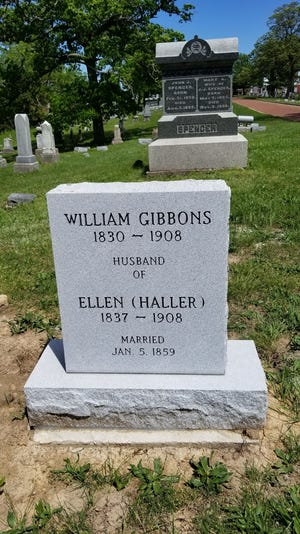 The new gravestone for former Kirksville mayor William Gibbons and his wife, Ellen. They did not have a gravestone, previously.
