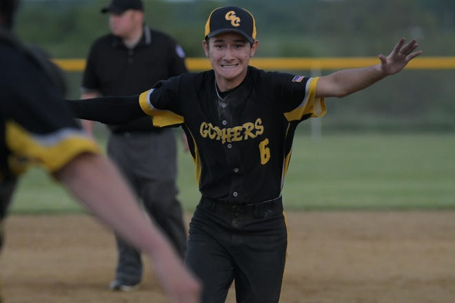 Green City's Eli Tipton reacts after the final out of Wednesday's Class 1 quarterfinal game against Pattonsburg.