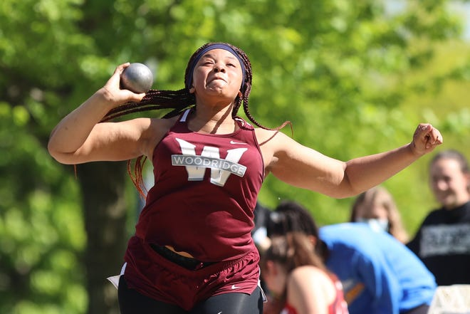 Woodridge's Corinne Betts placed second in the shot put event during the Metro Athletic Conference Championships earlier this month.
