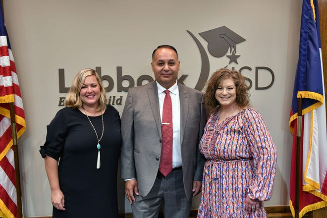 From left to right, Cayce Noble, Ray Mendoza, Stacey Stephens at Thursday's Lubbock ISD Board of Trustees meeting.
