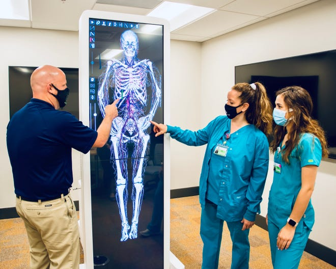 Jeremy Oldham, an assistant professor and clinical coordinator in ACM's physical therapist assistant program, tours nursing students, Aurelia Zembower and Madi Hott through a female cadaver's skeletal system.