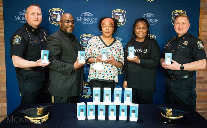 Partners to make Monroe better include (Left to Right) City of Monroe Chief of Police Charles F. McCormick IV; Second Missionary Baptist Church Reverend (Rev.) Terrence L. Johnson; City of Monroe Councilwoman Kellie M. Vining; President of Oaks Village Pastor Heather Boone; Captain Chad J. Tolstedt.